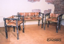 "Furniture set ""Africa"". 1,2х0,75х0,5, 0,7х0,75х0,5(leather, wicker-work)"