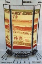 "Folding screen ""The Sail of Bacchus"", 2x2 m. Associations: people reconciled after the battle, they put all their self into food and drinking and headed to the realm of Bacchus. Smithery, steel, textiles, painting on silk"
